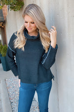Evening Time Off Cowl Neck Knit Sweater : Charcoal