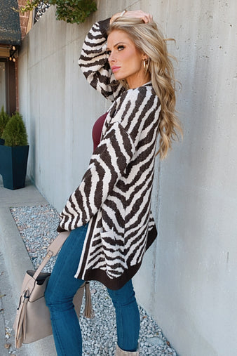 Wrap Me Up Zebra Balloon Sleeve Cardigan : Taupe/Brown