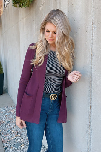 My Heart Is Yours Open Front Pocket Cardigan : Plum