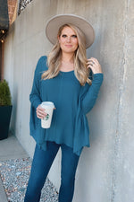 Keep Your Promise Waffle Knit Tunic Top : Teal Denim