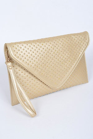 * Envelope Clutch With Gold Dot Details : Gold