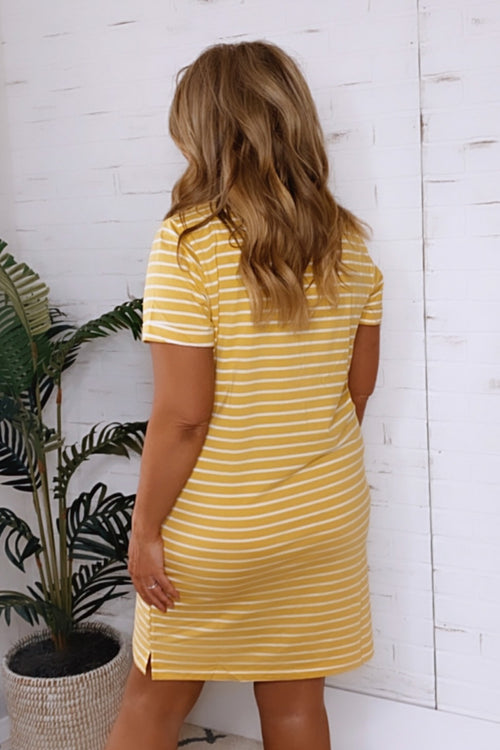 Partner In Wine Striped T-Shirt Dress : Mustard