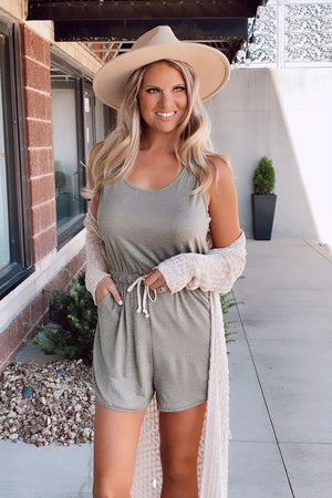 From Time To Time Romper : Olive