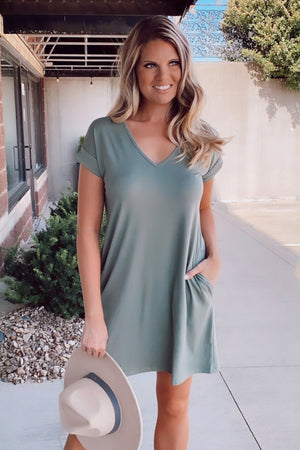 Skip The Beat Cuffed Sleeve Pocket Dress : Army Green