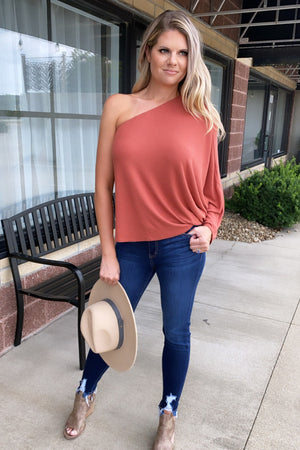 Mystical Muse One Shoulder Top : Rust Orange