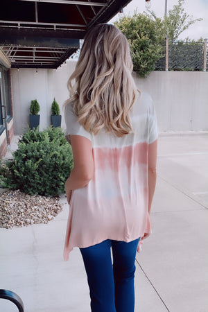 Understanding You Tie Dye Top : Sage/Salmon