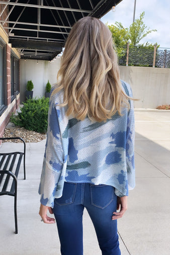 New Point Of View Camo Sweater : Blue