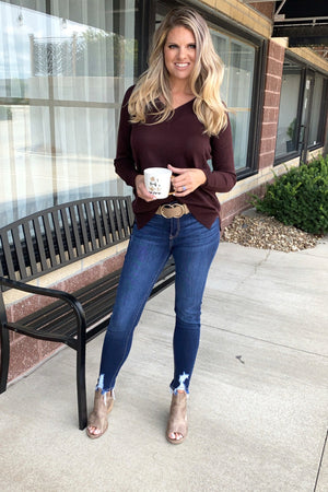 Potentially Yours V Neck Sweater : Dark Burgundy