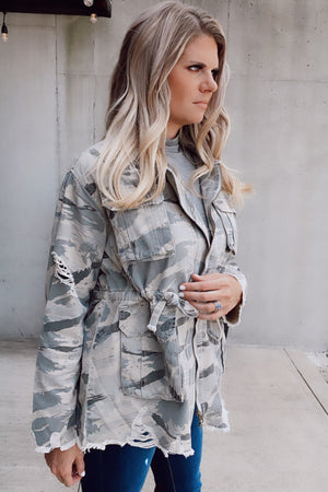 Wild Beauty Distressed Camo Jacket : Camo Green