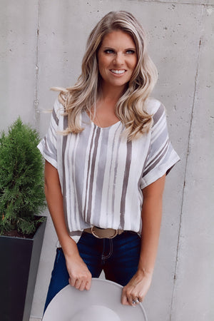 Always The Way Short Sleeve Top : Charcoal/Ivory