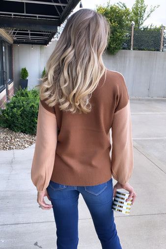 Here For You Color Block Sweater : Oatmeal/Peach