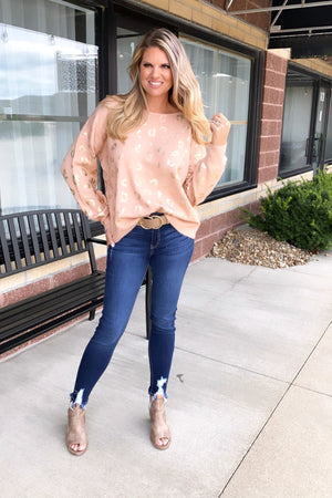 Blushing Autumn Shiny Leopard Sweater : Blush