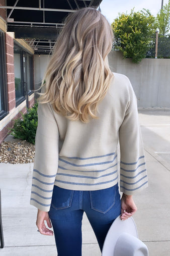 Taking Aim Stripe Pullover Sweater : Stone