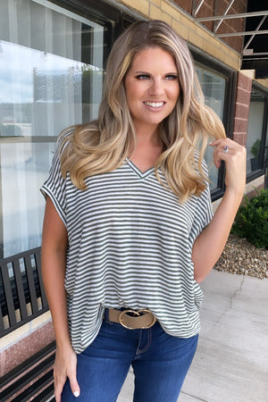 All In Illusion Over sized Striped Top : Olive/White