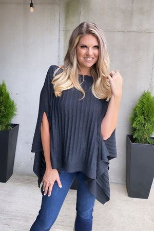 Let's Take A Stroll Pullover Poncho : Charcoal