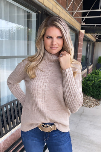 Just Carry On Ribbed Turtle Neck Sweater : Taupe