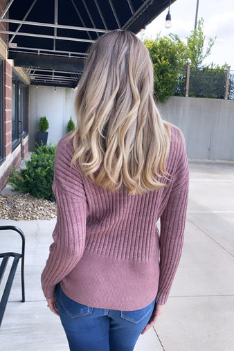 Just Carry On Ribbed Turtle Neck Sweater : Mauve