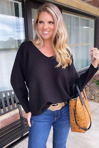 Forgiving Heart V Neck Sweater : Black