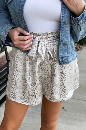 Not A Chance Leopard Print Shorts : Cream