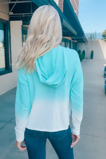 Run Away Tie Dye Hooded Pullover : Mint