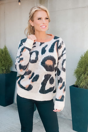 Found Something Special Leopard Print Sweater : Cream