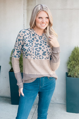 Just Can't Wait Leopard Mixed Hoodie : Camel/Taupe