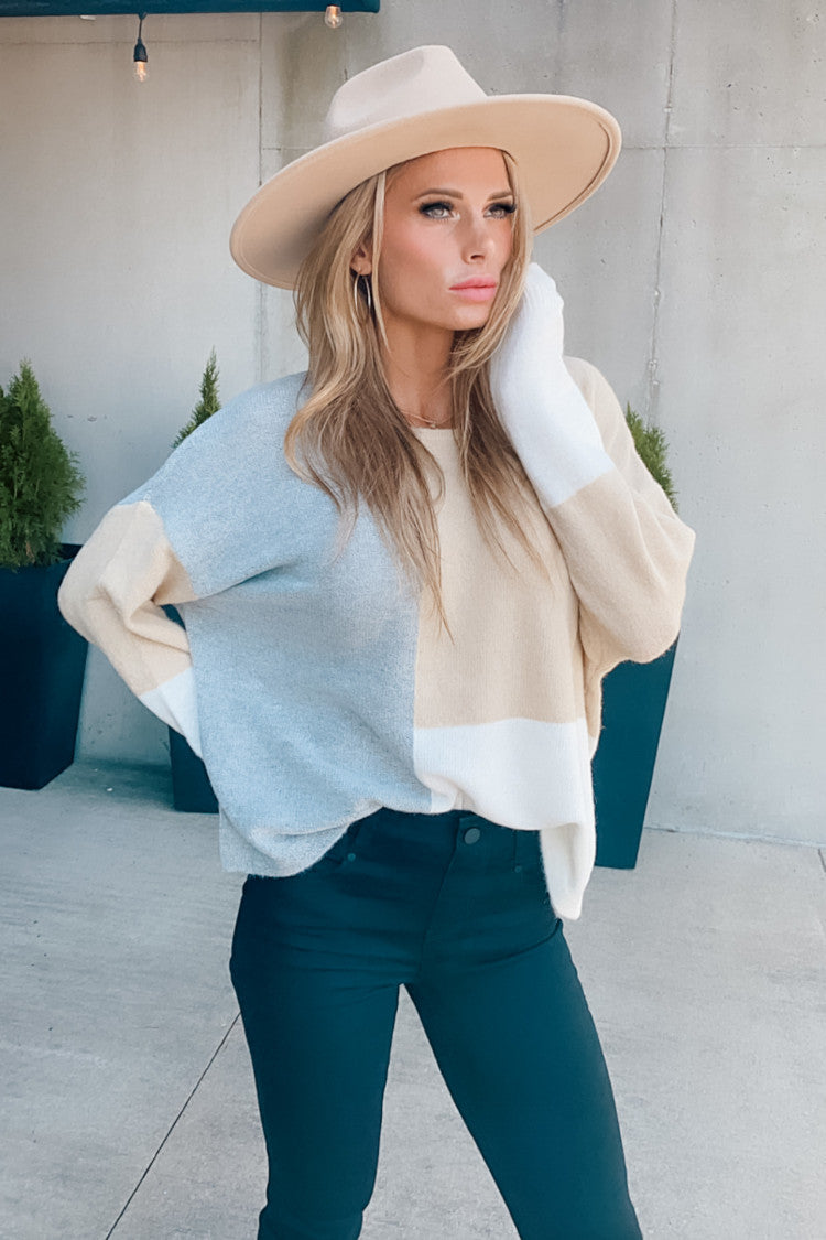 Change In Season Color Block Sweater : Taupe/Grey/