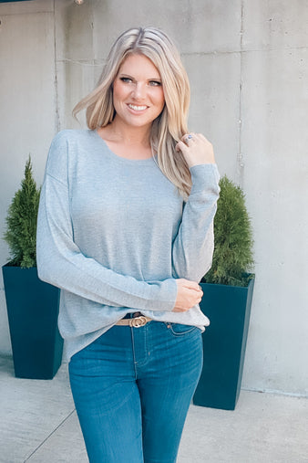 A Way With Words Knit Sweater : Heather Grey