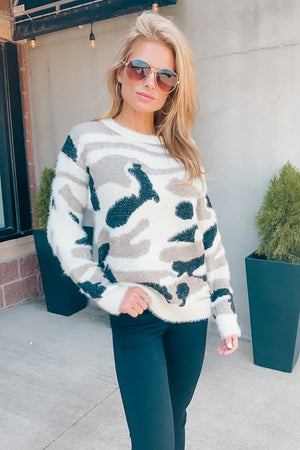 Smooth Talking Camo Knit Sweater : Light Taupe