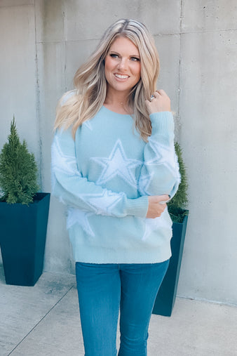 Lucky Stars Sweater Top : Seafoam