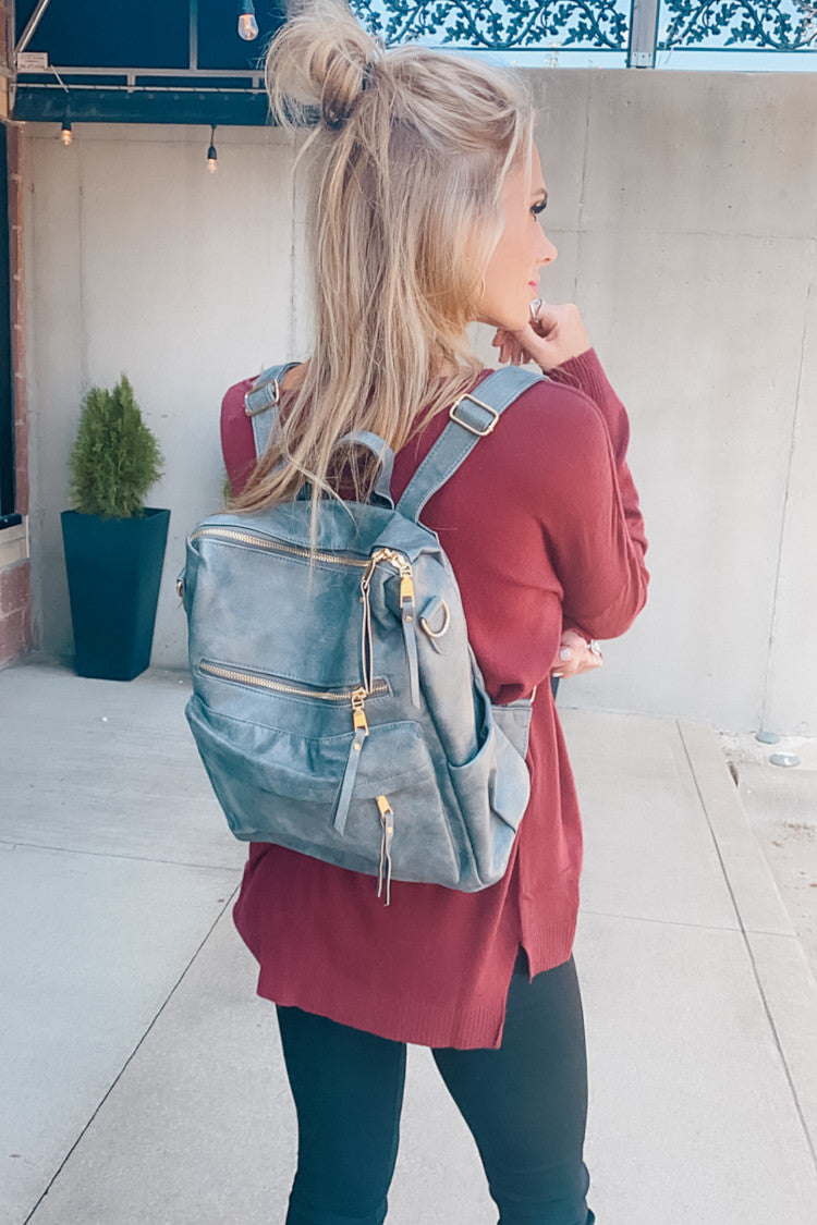 Sense Of Style Faux Leather Backpack : Grey