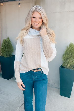 Faded Memories Color Block Cowl Neck Sweater : Grey/Taupe