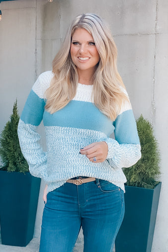 Changing Plans Color Block Sweater : Aqua/Ivory