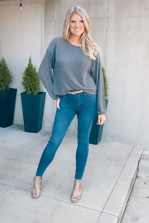 Modern Days Waffle Knit Top : Charcoal