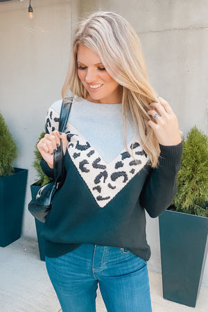 Be Back Soon Leopard V Sweater : Black/Grey