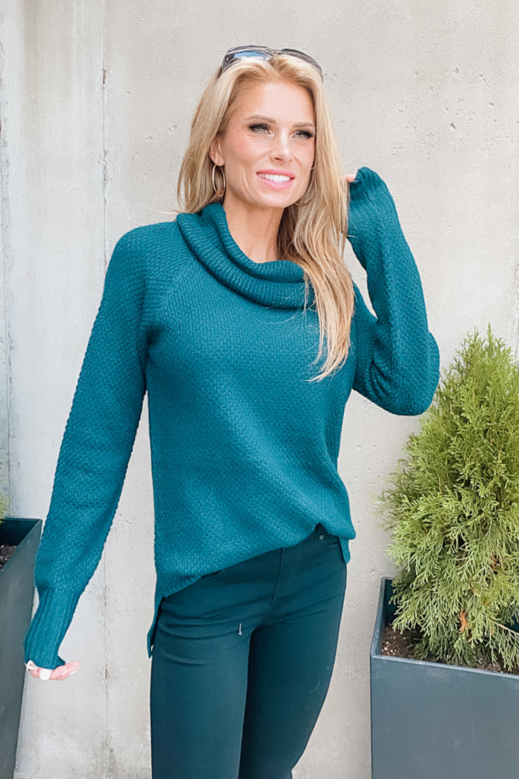 Step On Up Slouchy Cowl Neck Sweater : Teal
