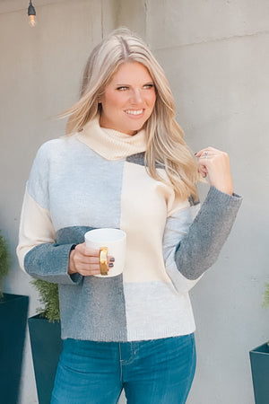 Smitten With You Color Block Sweater : Grey/Multi
