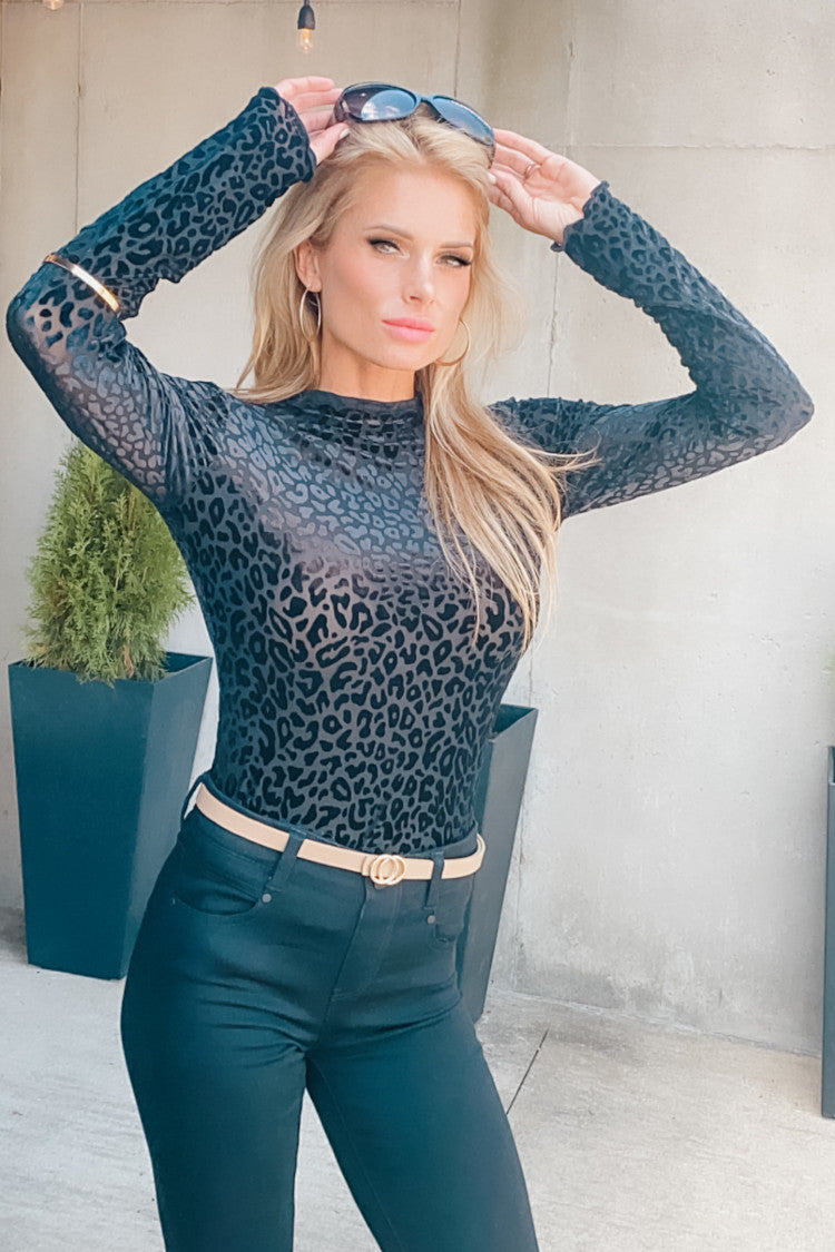 State The Facts Leopard Burnout Velvet Mesh Top : Black