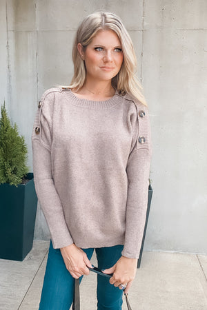 Sealed Secrets Button Detail Sweater : Mocha