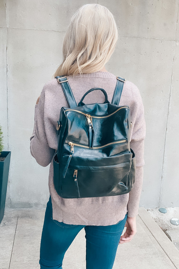 Sense Of Style Faux Leather Backpack : Black