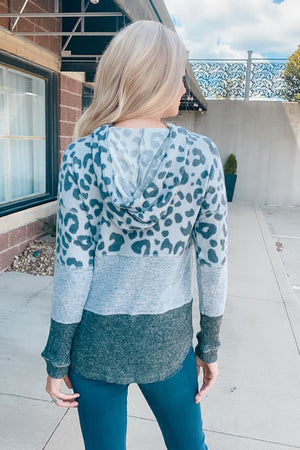Just Can't Wait Leopard Mixed Hoodie : Grey/Charcoal