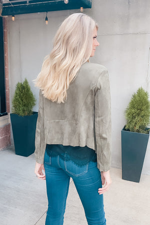 Through The Town Faux Suede Open Blazer : Olive
