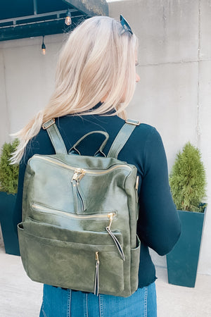 Sense Of Style Faux Leather Backpack : Olive