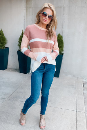 Embrace My Heart Color Block Sweater : Mauve/Ivory