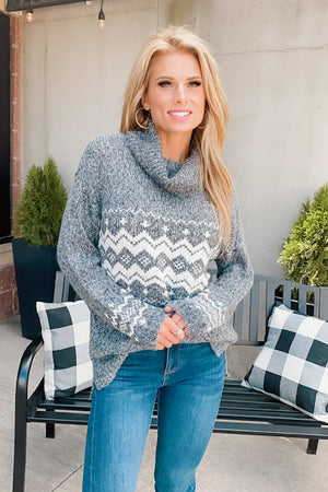 Hot Cocoa Snuggles Slouchy Cowl Neck Sweater : Charcoal