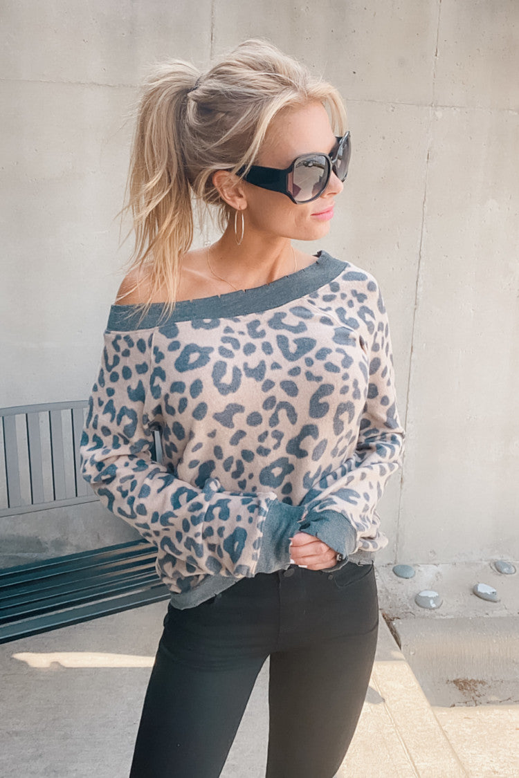 Your Best Shot Leopard Print Pullover : Taupe/Charcoal