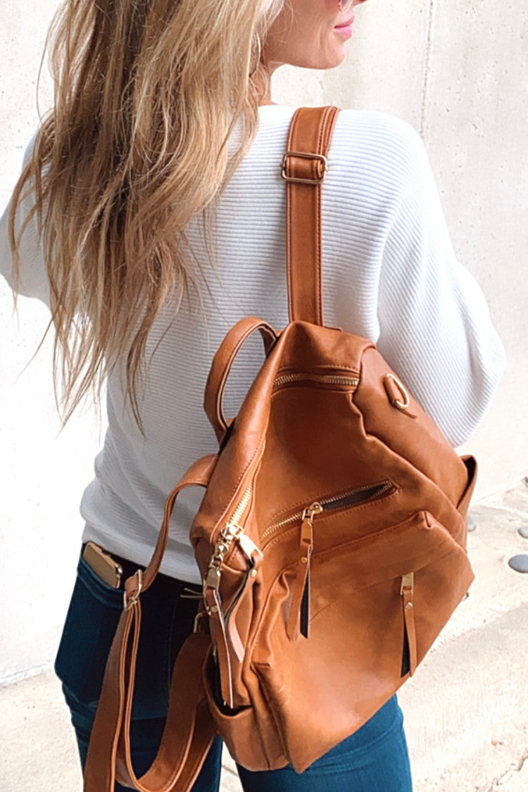 Sense Of Style Faux Leather Backpack :Camel