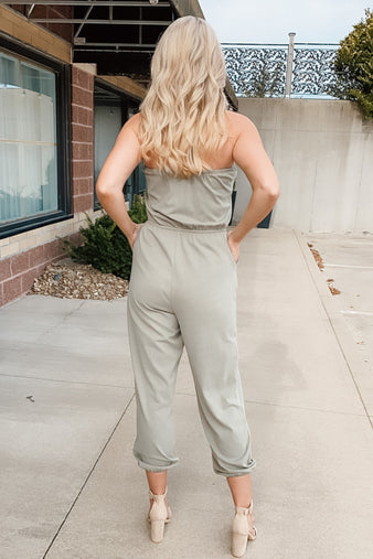 Break Of Dawn Sleeveless Jumpsuit : Olive
