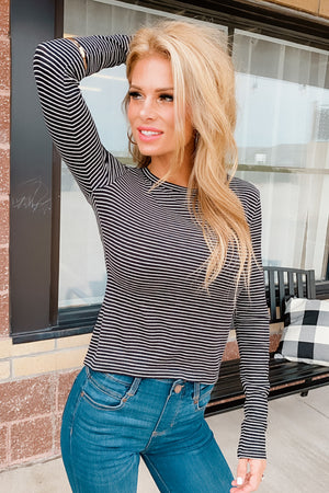 Layered With Love Stripe Knit Top : Black/White