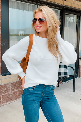 A Place To Be Ribbed Sweater : Ivory